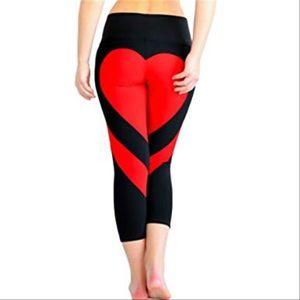 Pants - Silky leggings with heart design on butt